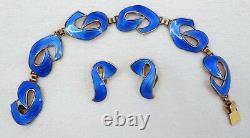 Vtg Modernist Gilt Sterling Blue Enamel Ivar Holth Norway Bracelet Earrings Set