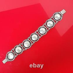 Vtg. N. E. FROM Niels Erik Chrysoprase Sterling Silver Flower Bracelet Denmark