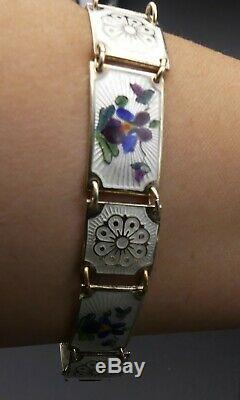 Vtg Norway David Andersen sterling silver & guilloche enamel/ flower bracelet