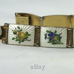 Vtg Norway Finn Jensen Sterling Silver Enamel Multi Flowers Wide Link Bracelet
