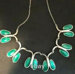 Vtg Norway Sterling Silver White/Green Enamel Necklace Andresen/Scheinpflug 17L
