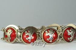 Vtg Red Enamel 830 Sterling Silver Lion Bracelet Olav H Rysstad Ohr Norway
