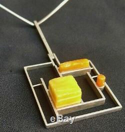 Vtg Signed Bent Knudsen Sterling Silver Amber Modernist Necklace 87 Denmark RARE