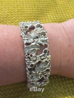 Vtg Signed Juhls Kautokeino Sterling 925 Modernist Tundra Bracelet Norway