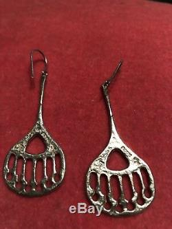 Vtg Signed Juhls Kautokeino Sterling 925 Modernist Tundra Earrings Norway