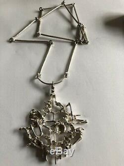 Vtg Signed Juhls Kautokeino Sterling 925 Modernist Tundra Necklace Norway huge