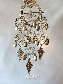 Vtg Solje 830s Silver Heart Crown Norway Wedding Brooch Pin K. A. Rasmussen Oslo
