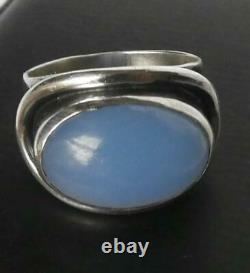 Vtg Sterling Carl Ove Frydensberg Denmark Modernist Chalcedony Moonstone Ring