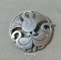 Vtg Sterling Norse Nords Uror Fate Past Present Future Swans Brooch Pin 11m 57