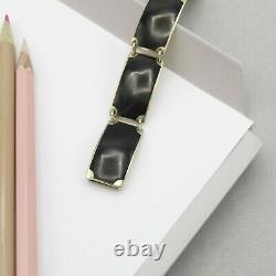 Vtg Sterling Silver Vermeil Black Enamel Norway Modernist Signed Opro Bracelet