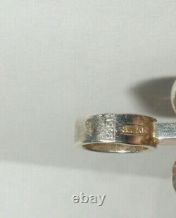 Vtg modernist Finland sterling silver Chrysoprase pendant Kultaseppa Salovaara