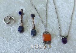Vtg sterling silver necklace bracelet lot Denmark modern Dragsted NE From amber