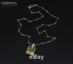 Zoisit Stone & Diamond Necklace 18K Gold Lapponia Björn Weckström A226